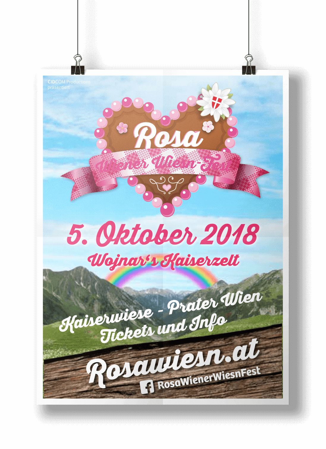 Rosa Wiener Wiesn Poster Mockup